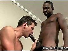 This cute guy doesn`t mind to taste two black dicks.