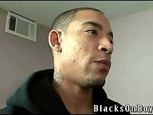 Guy enjoys the taste of hard black cock he is sucking.
